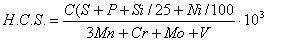 Уравнение склонности к горячим трещинам